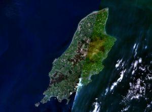widok wyspy z satelity