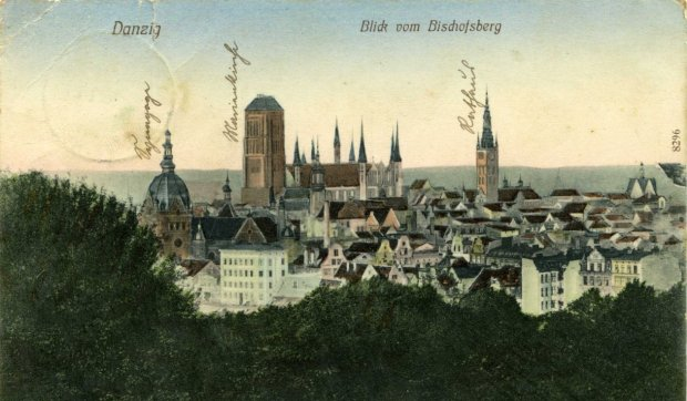 Wielka-Synagoga-na-pocztowce-z-panorama-Gdanska
