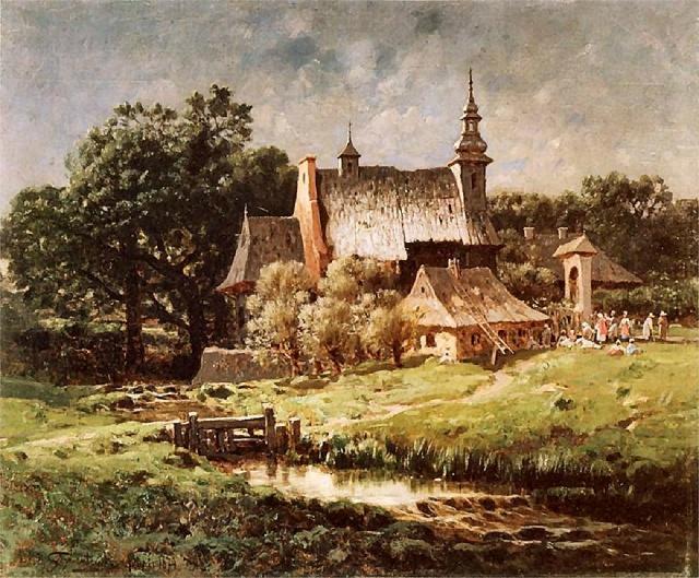 Pejzaż z kościółkiem w tle